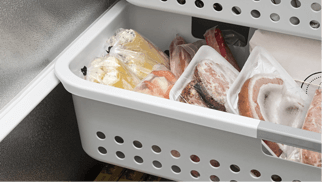 Packaged Frozen Meats in Freezer